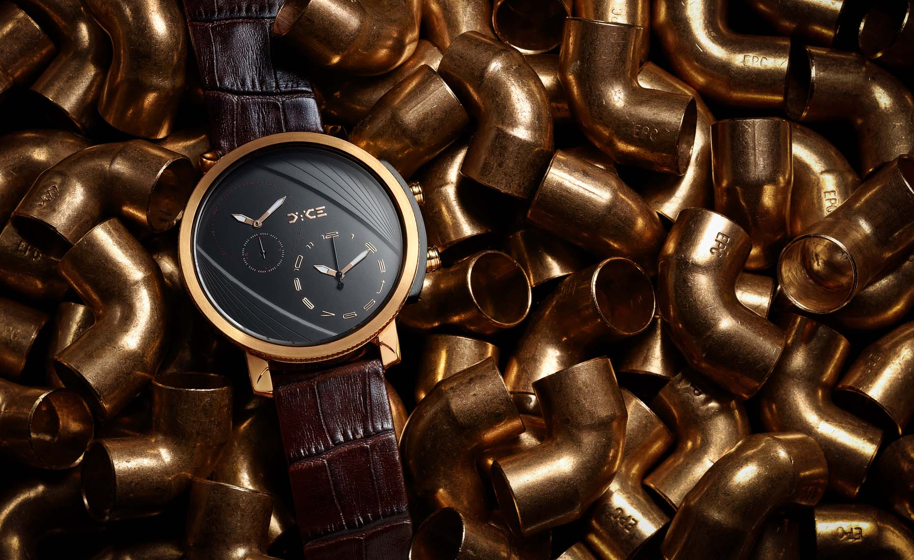 mens watch with copper