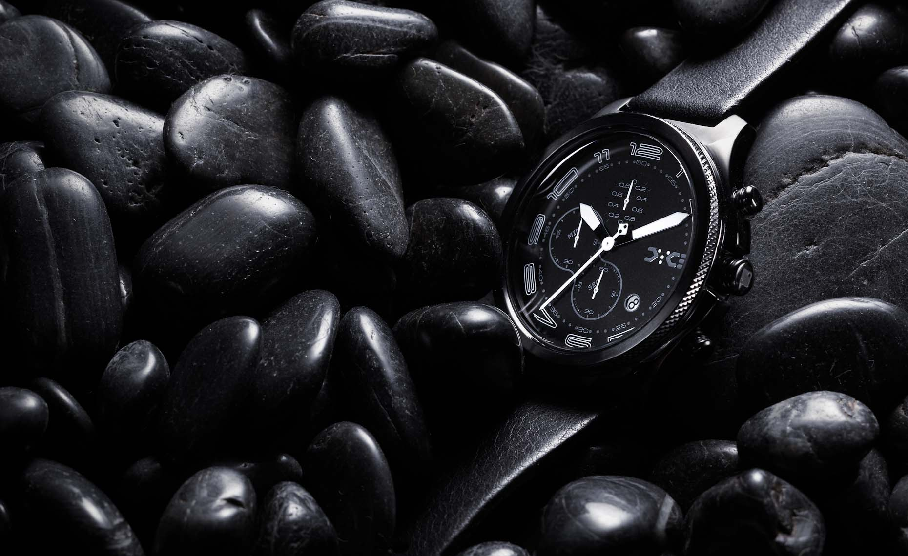 mens watch with pebbles