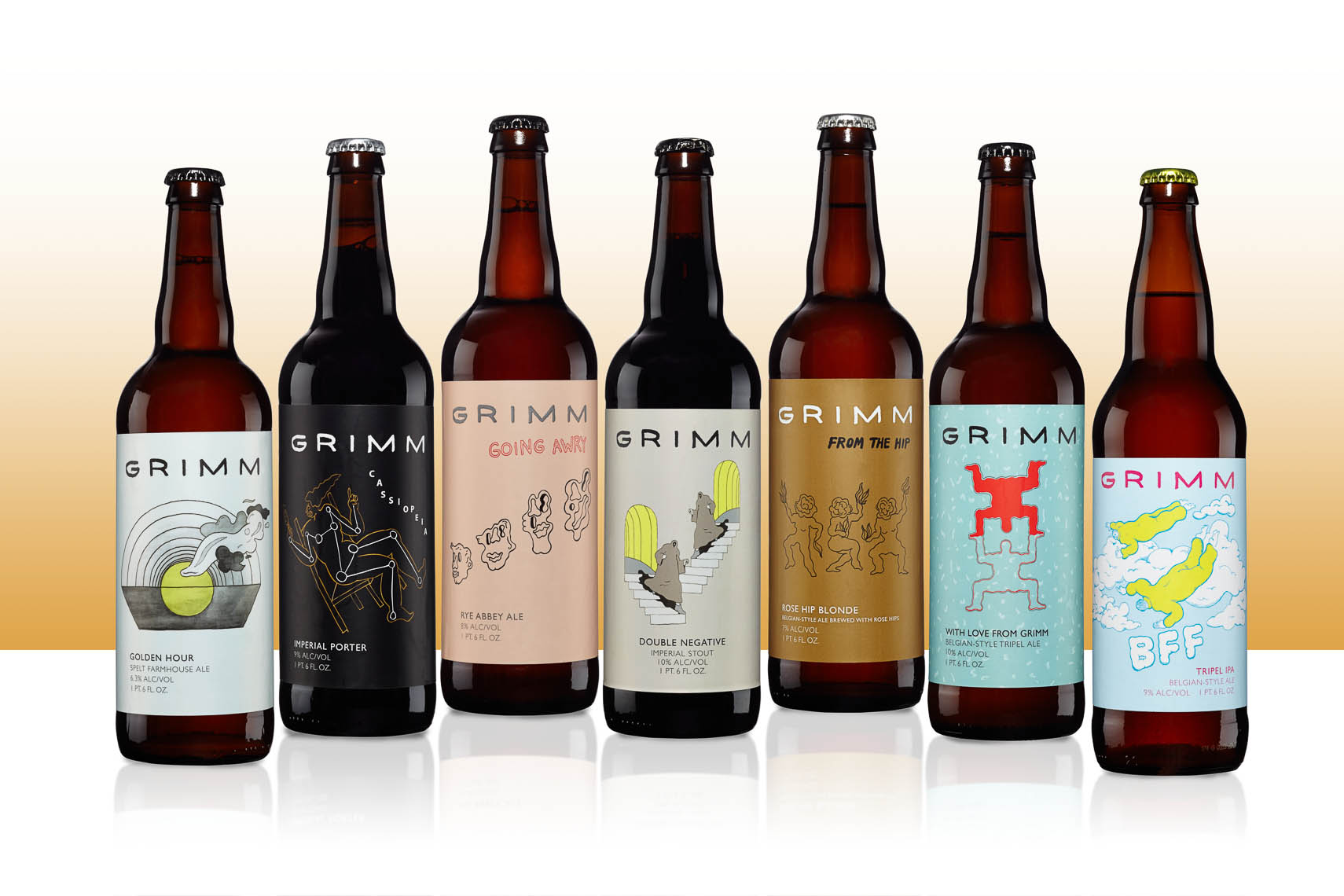 grimm ale product photography on white backgroud