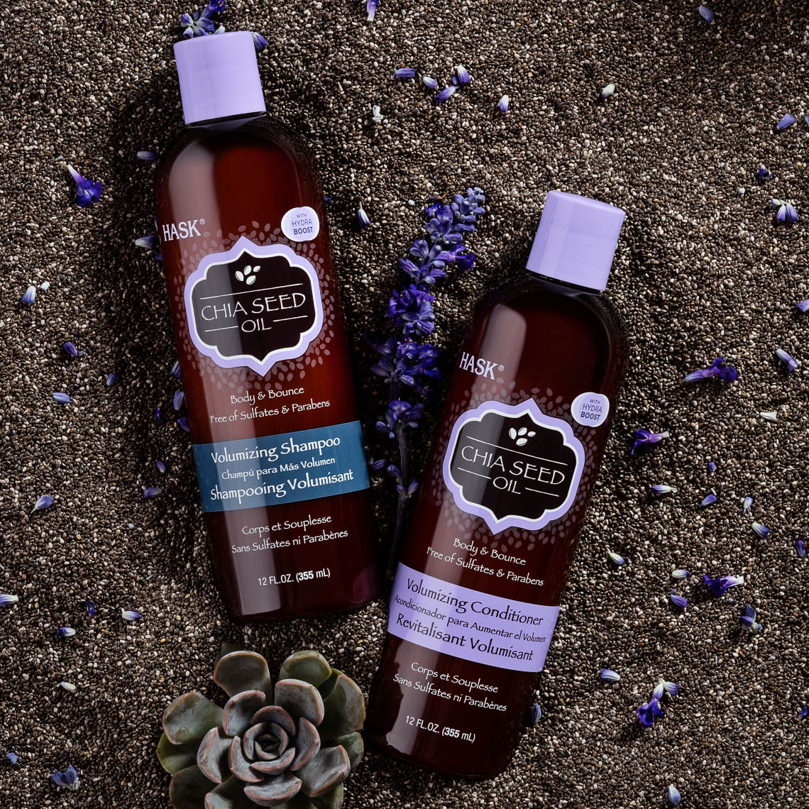 product photographer cosmetics photography chia seed shampoo and conditioner
