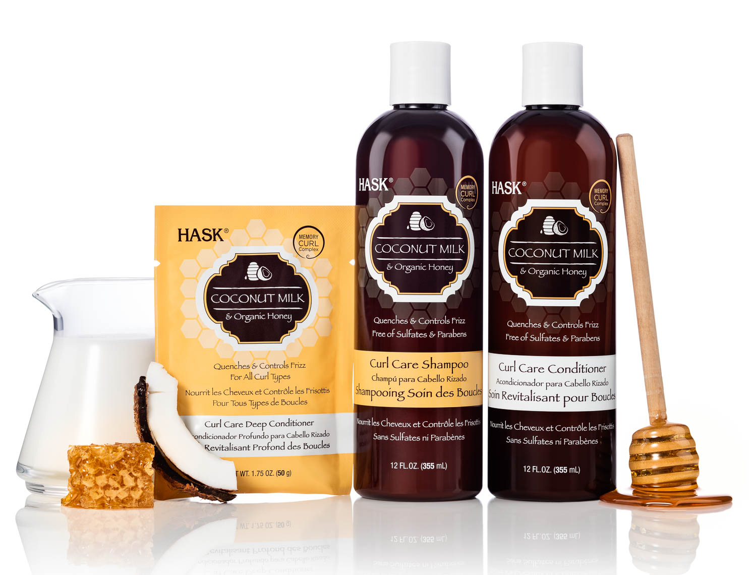 product photographer cosmetics photography Coconut honey shampoo with ingredients