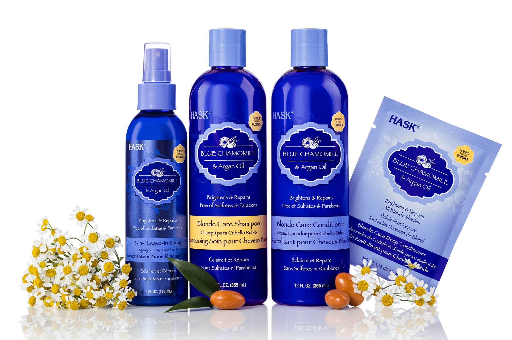 product photographer cosmetics photographyBlue chamomile shampoo and ingredients