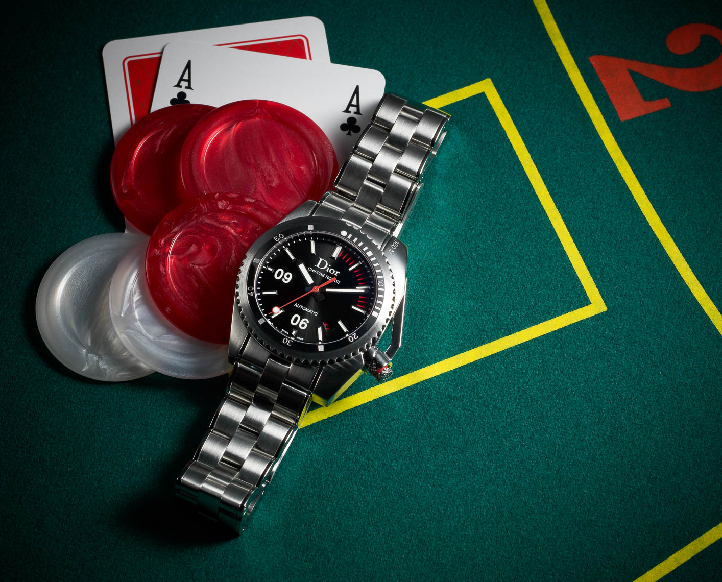 Dior mens watch with playing cards and poker chips gambling