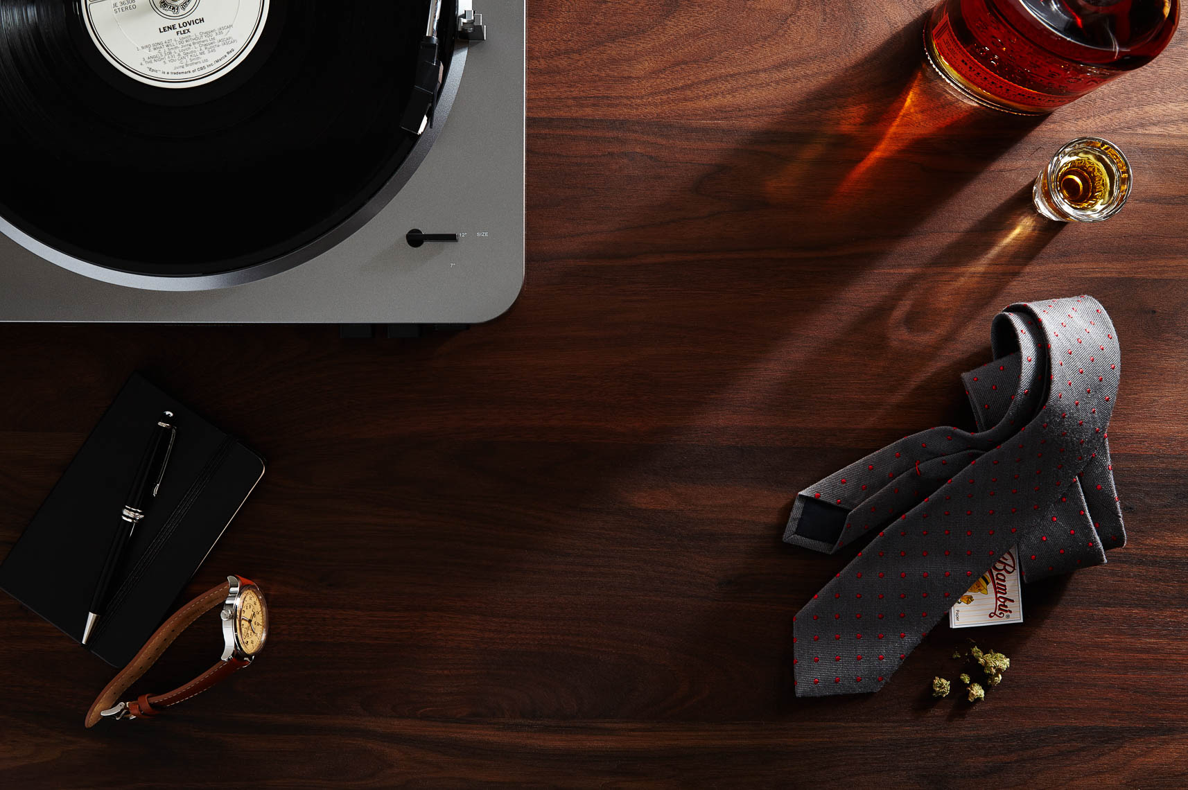 mens fashion accessory still life photography with turntable, bourbon, 420,