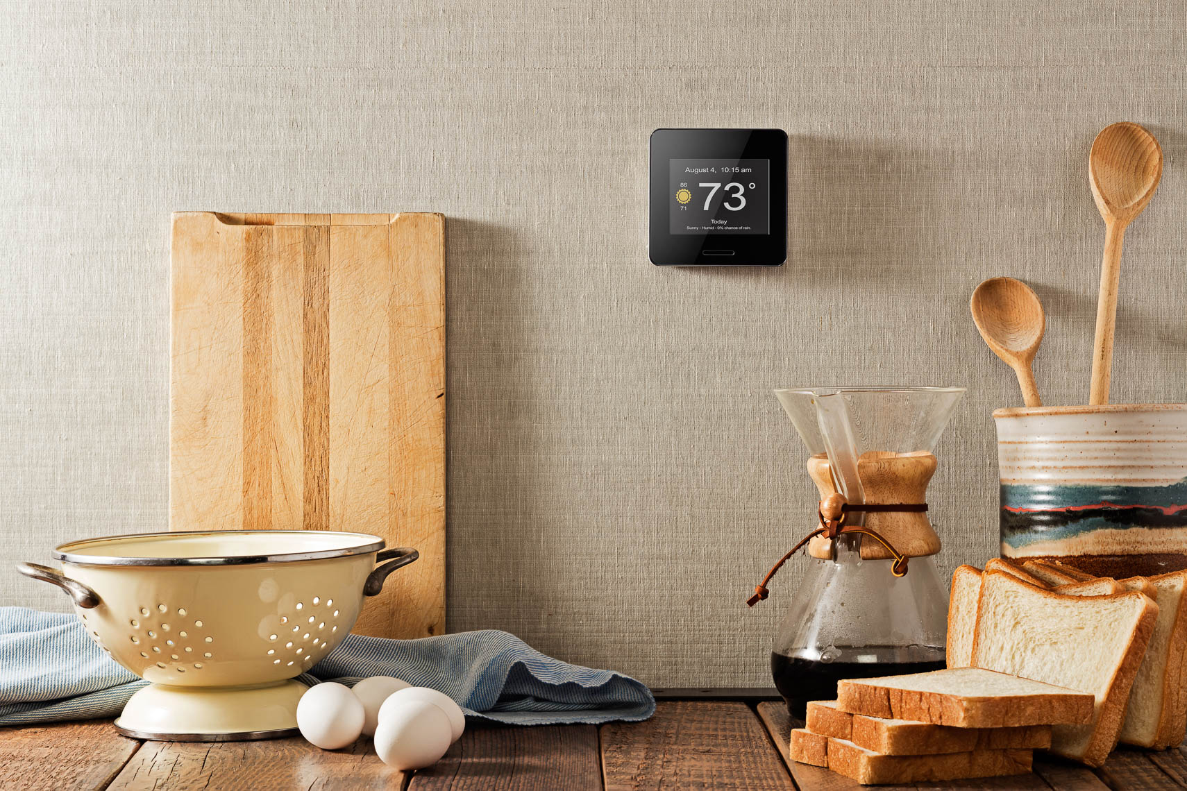 product photography kitchen table lifestyle photography of wifi weather station