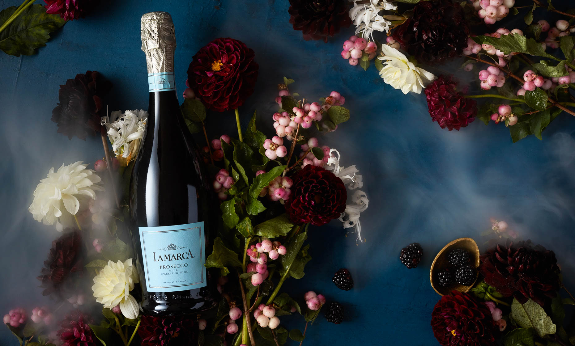 product photographer still life photography nyc lamarca prosecco still life photography with flowers