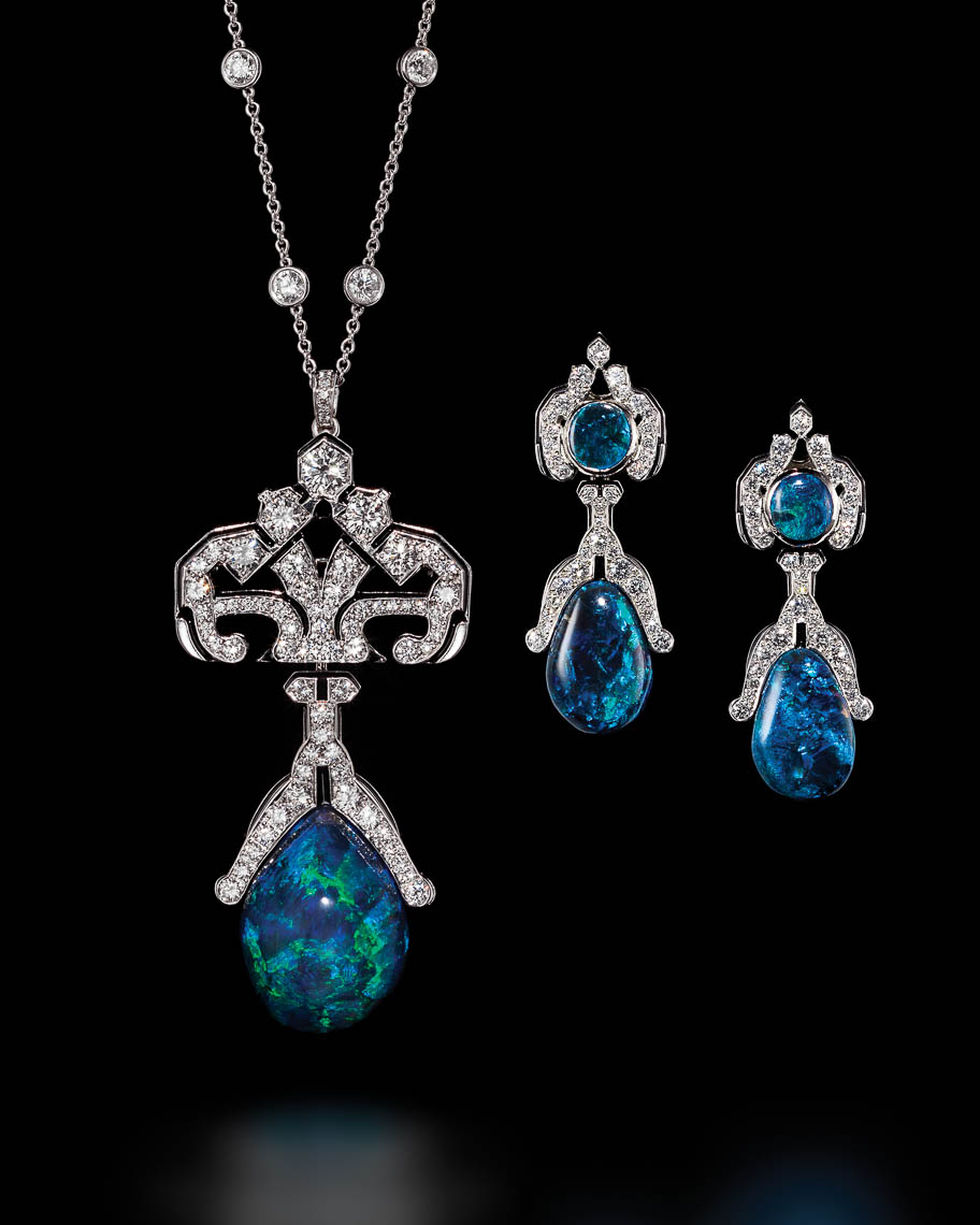 Opal Diamond Platinum   necklace and earring