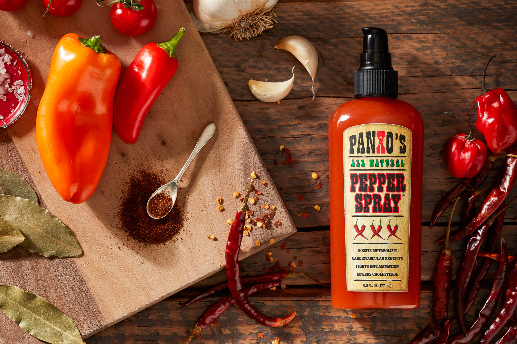 product photography red hot sauce with pepper ora2722
