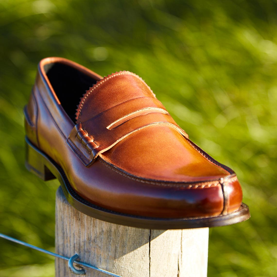 Mens dark brown leather dress shoes shot in the park for Paul Stuart shoes in NYC